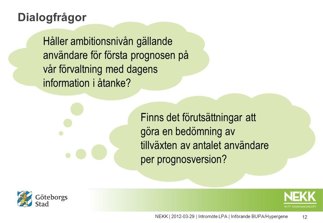 Dialogfrågor Finns det förutsättningar att göra en bedömning av tillväxten av antalet användare per prognosversion.