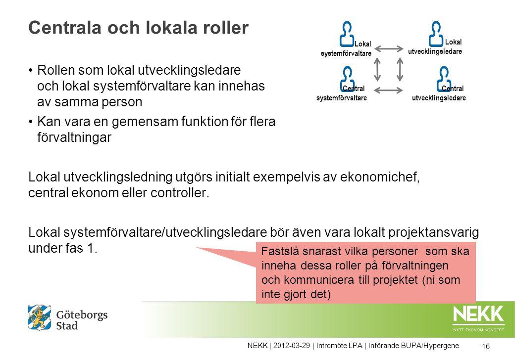 Centrala och lokala roller Rollen som lokal utvecklingsledare och lokal systemförvaltare kan innehas av samma person Kan vara en gemensam funktion för flera förvaltningar Lokal utvecklingsledning utgörs initialt exempelvis av ekonomichef, central ekonom eller controller.