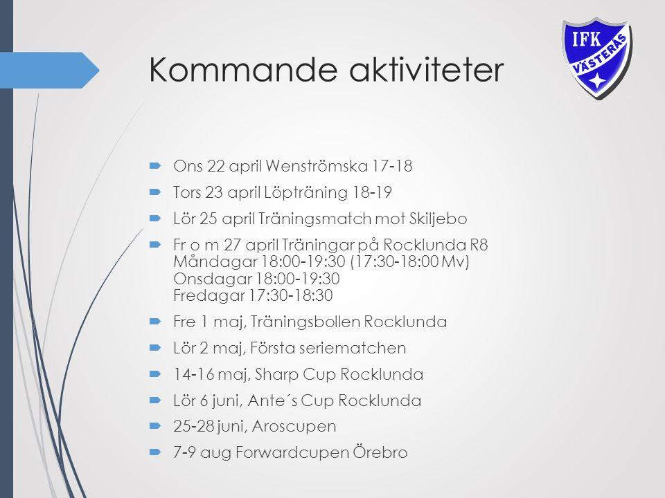 Kommande aktiviteter  Ons 22 april Wenströmska 17-18  Tors 23 april Löpträning 18-19  Lör 25 april Träningsmatch mot Skiljebo  Fr o m 27 april Träningar på Rocklunda R8 Måndagar 18:00-19:30 (17:30-18:00 Mv) Onsdagar 18:00-19:30 Fredagar 17:30-18:30  Fre 1 maj, Träningsbollen Rocklunda  Lör 2 maj, Första seriematchen  14-16 maj, Sharp Cup Rocklunda  Lör 6 juni, Ante´s Cup Rocklunda  25-28 juni, Aroscupen  7-9 aug Forwardcupen Örebro
