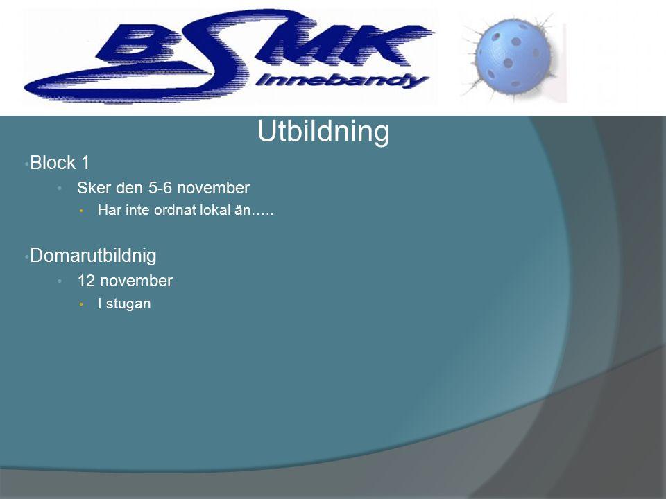 Block 1 Sker den 5-6 november Har inte ordnat lokal än…..
