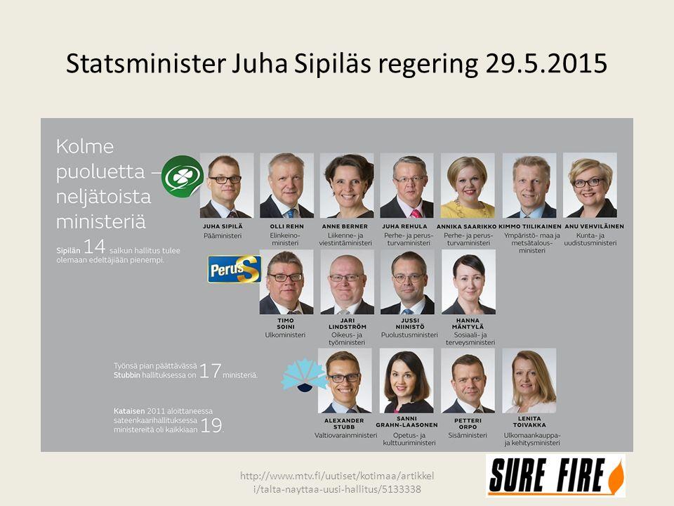 Statsminister Juha Sipiläs regering 29.5.2015 http://www.mtv.fi/uutiset/kotimaa/artikkel i/talta-nayttaa-uusi-hallitus/5133338