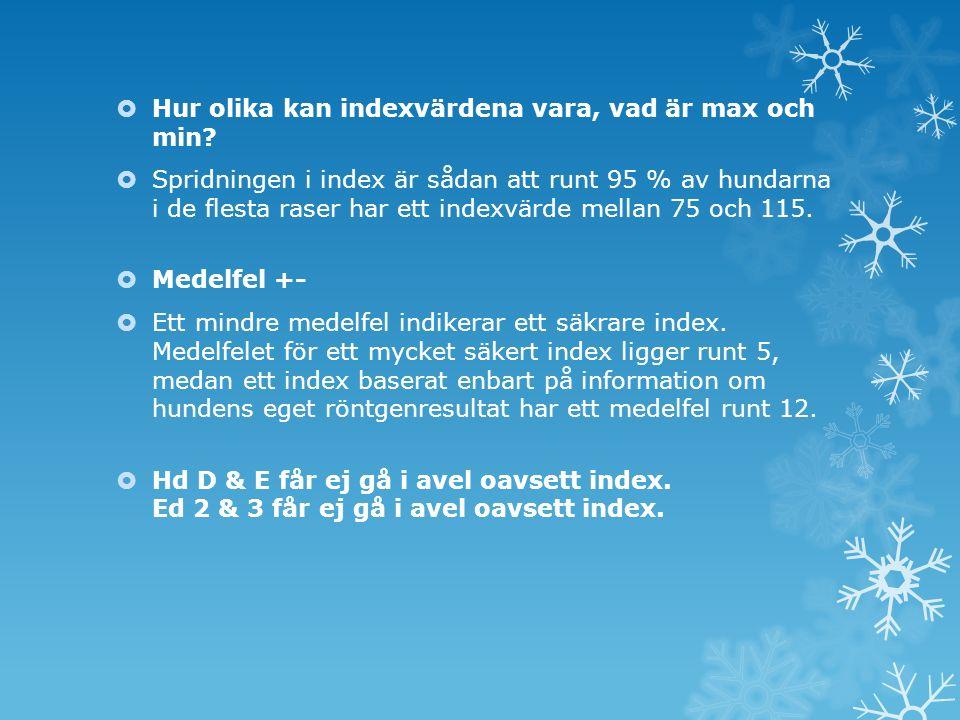 Medelvärde HD & ED index Diagnos Hd A105Ed 0101 Hd B96Ed 190 Hd C90Ed 283 Hd D86Ed 381 Hd E80