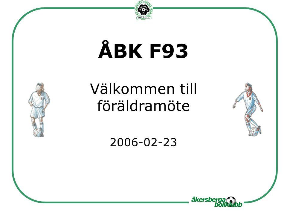 ÅBK F93 Välkommen till föräldramöte 2006-02-23