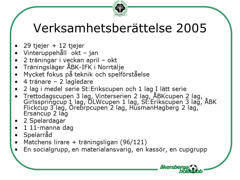 Verksamhetsberättelse 2005 29 tjejer + 12 tjejer Vinteruppehåll okt – jan 2 träningar i veckan april – okt Träningsläger ÅBK-IFK i Norrtälje Mycket fokus på teknik och spelförståelse 4 tränare – 2 lagledare 2 lag i medel serie St:Erikscupen och 1 lag I lätt serie Trettodagscupen 3 lag, Vinterserien 2 lag, ÅBKcupen 2 lag, Girlsspringcup 1 lag, OLWcupen 1 lag, St:Erikscupen 3 lag, ÅBK Flickcup 3 lag, Örebrpcupen 2 lag, HusmanHagberg 2 lag, Ersancup 2 lag 2 Spelardagar 1 11-manna dag Spelarråd Matchens lirare + träningsligan (96/121) En socialgrupp, en materialansvarig, en kassör, en cupgrupp
