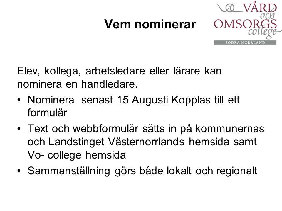 Vem nominerar Elev, kollega, arbetsledare eller lärare kan nominera en handledare.