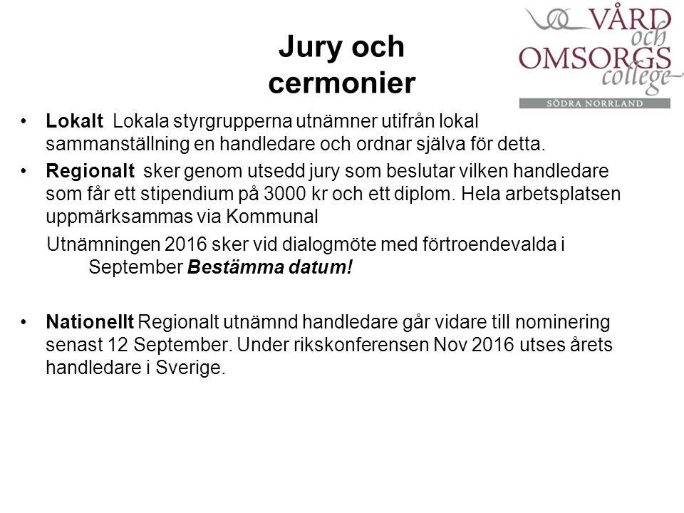 Jury och cermonier Lokalt Lokala styrgrupperna utnämner utifrån lokal sammanställning en handledare och ordnar själva för detta.