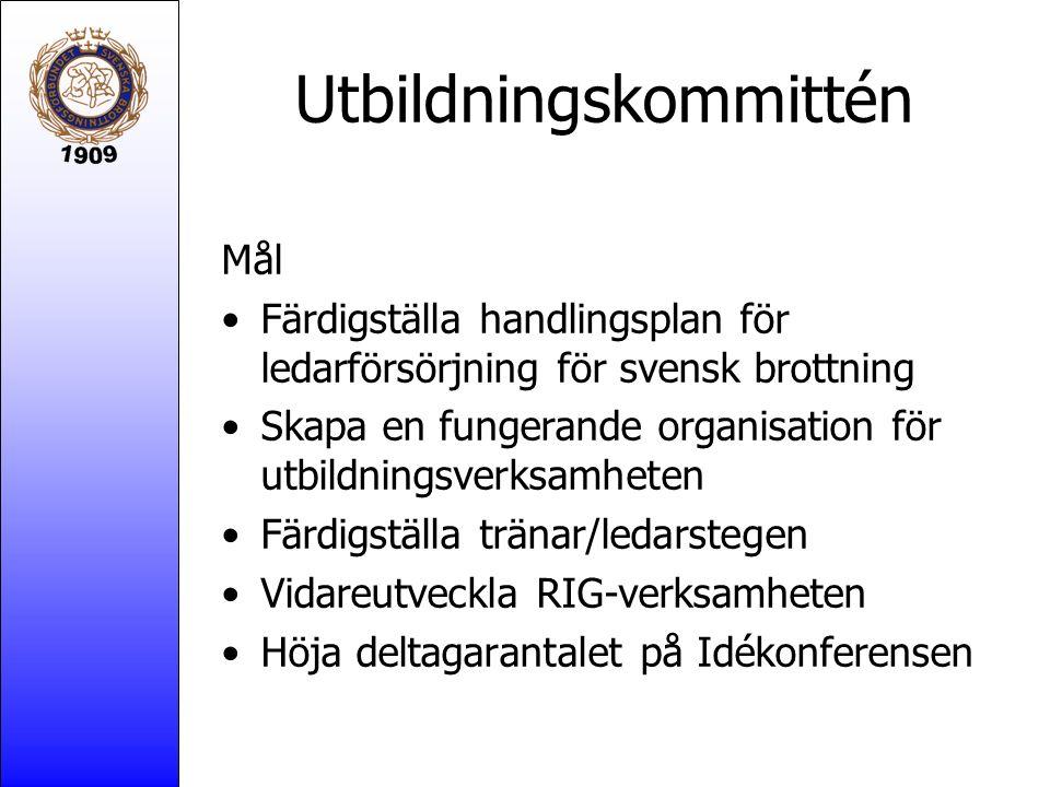 Utbildningskommittén Mål Färdigställa handlingsplan för ledarförsörjning för svensk brottning Skapa en fungerande organisation för utbildningsverksamh