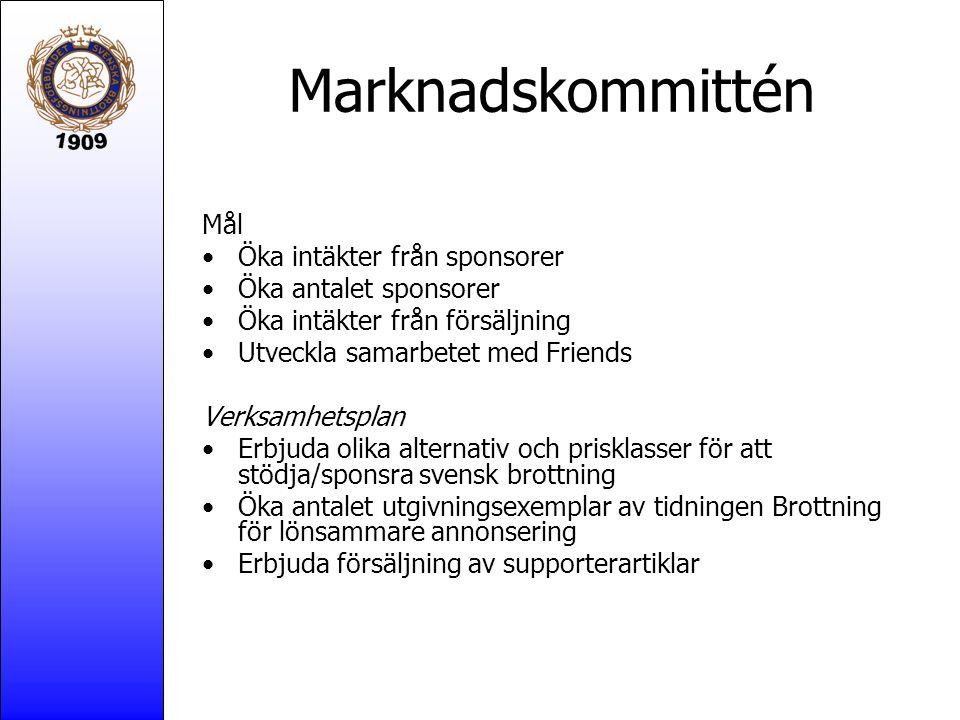 Marknadskommittén Mål Öka intäkter från sponsorer Öka antalet sponsorer Öka intäkter från försäljning Utveckla samarbetet med Friends Verksamhetsplan