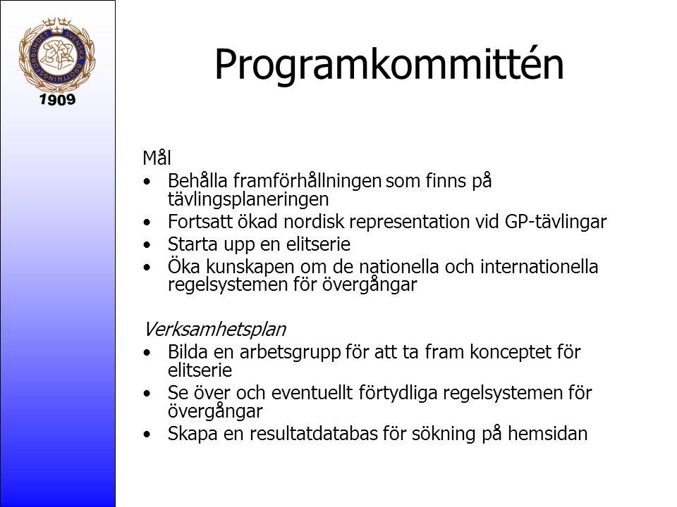 Programkommittén Mål Behålla framförhållningen som finns på tävlingsplaneringen Fortsatt ökad nordisk representation vid GP-tävlingar Starta upp en el