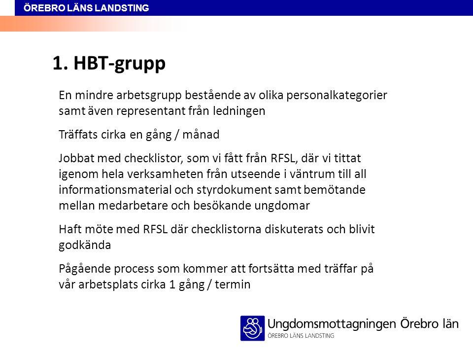 ÖREBRO LÄNS LANDSTING 1. HBT-grupp En mindre arbetsgrupp bestående av olika personalkategorier samt även representant från ledningen Träffats cirka en