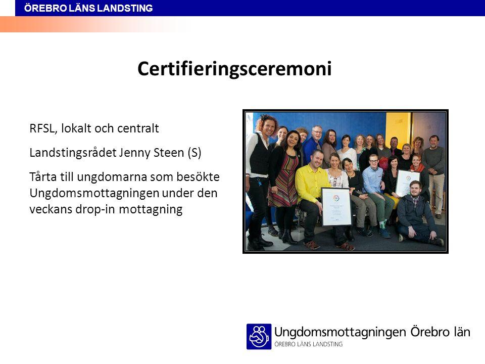ÖREBRO LÄNS LANDSTING Certifieringsceremoni RFSL, lokalt och centralt Landstingsrådet Jenny Steen (S) Tårta till ungdomarna som besökte Ungdomsmottagn