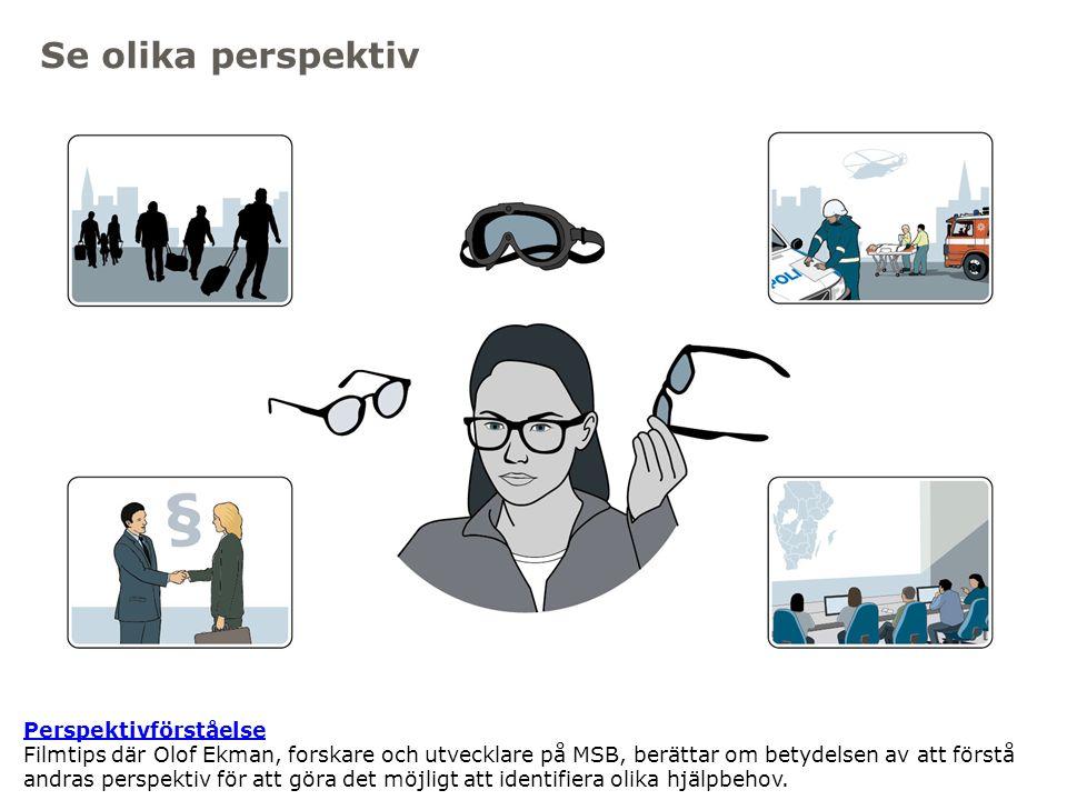 Myndigheten för samhällsskydd och beredskap Se olika perspektiv Perspektivförståelse Perspektivförståelse Filmtips där Olof Ekman, forskare och utveck