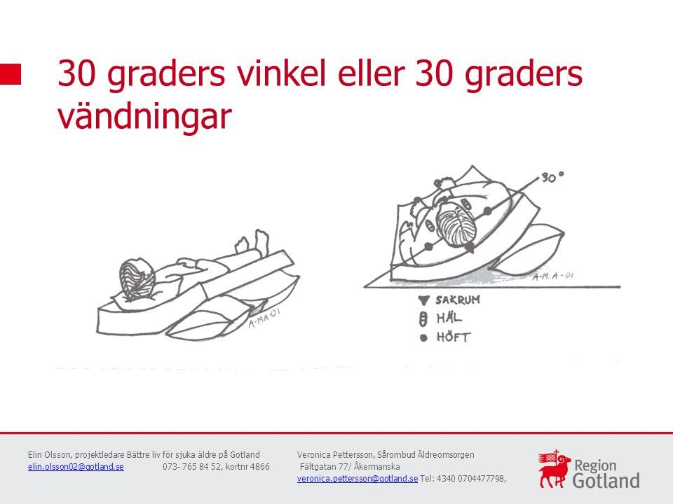 30 graders vinkel eller 30 graders vändningar Elin Olsson, projektledare Bättre liv för sjuka äldre på GotlandVeronica Pettersson, Sårombud Äldreomsor