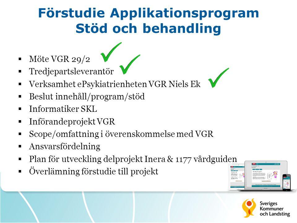 Förstudie Applikationsprogram Stöd och behandling  Möte VGR 29/2  Tredjepartsleverantör  Verksamhet ePsykiatrienheten VGR Niels Ek  Beslut innehål