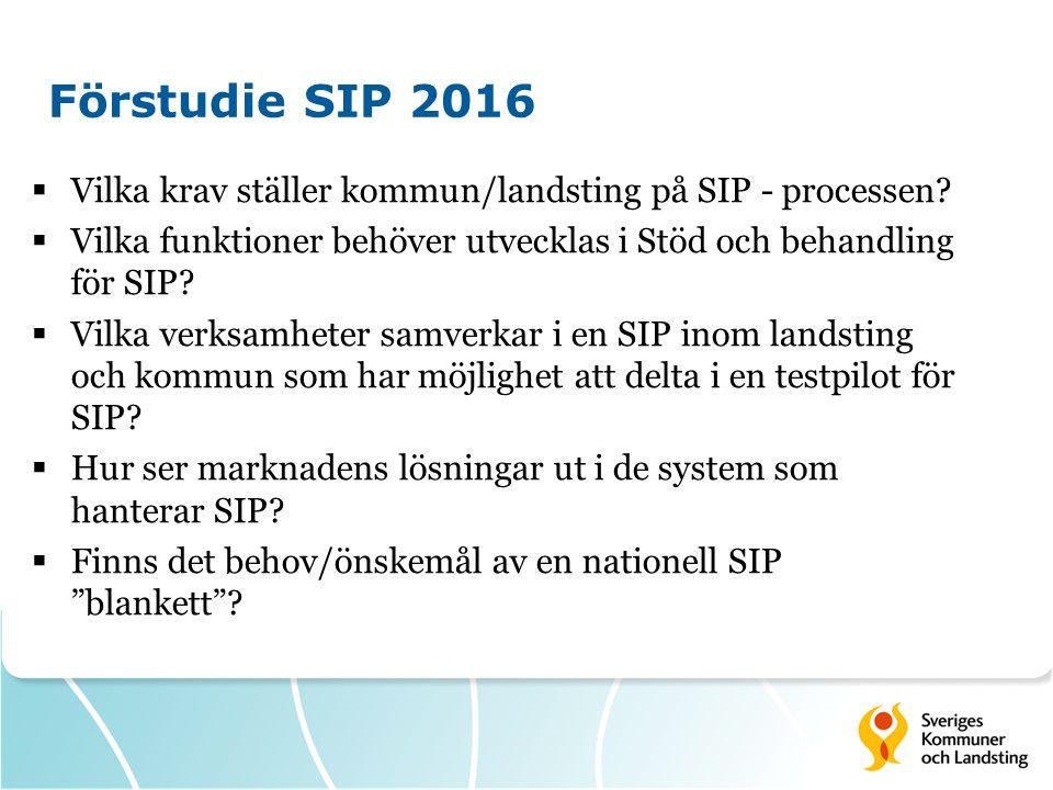 Förstudie SIP 2016  Vilka krav ställer kommun/landsting på SIP - processen?  Vilka funktioner behöver utvecklas i Stöd och behandling för SIP?  Vil