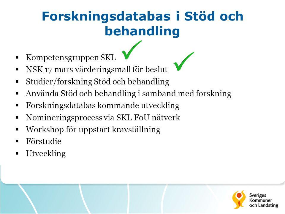 Forskningsdatabas i Stöd och behandling  Kompetensgruppen SKL  NSK 17 mars värderingsmall för beslut  Studier/forskning Stöd och behandling  Använ