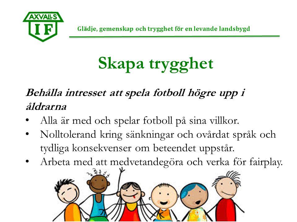 Gl ä dje, gemenskap och trygghet f ö r en levande landsbygd Skapa trygghet Behålla intresset att spela fotboll högre upp i åldrarna Alla är med och spelar fotboll på sina villkor.