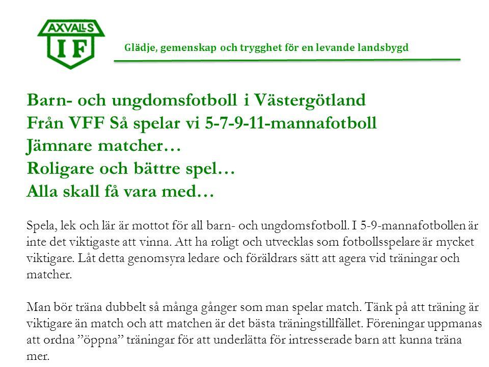 Gl ä dje, gemenskap och trygghet f ö r en levande landsbygd Barn- och ungdomsfotboll i Västergötland Från VFF Så spelar vi 5-7-9-11-mannafotboll Jämnare matcher… Roligare och bättre spel… Alla skall få vara med… Spela, lek och lär är mottot för all barn- och ungdomsfotboll.