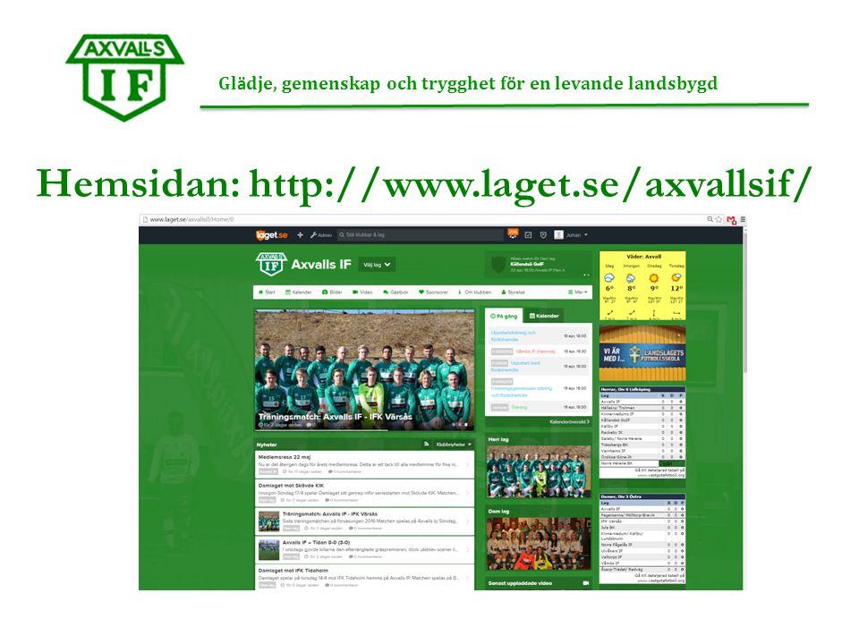 Hemsidan: http://www.laget.se/axvallsif/