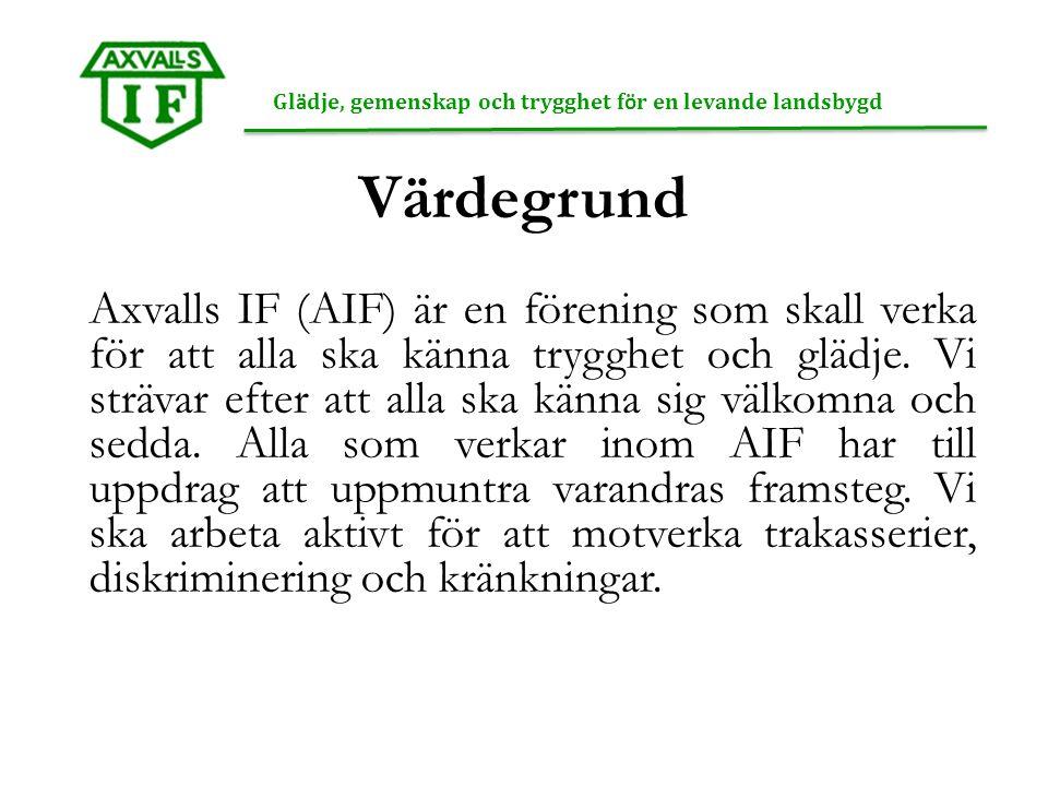 Värdegrund Axvalls IF (AIF) är en förening som skall verka för att alla ska känna trygghet och glädje.