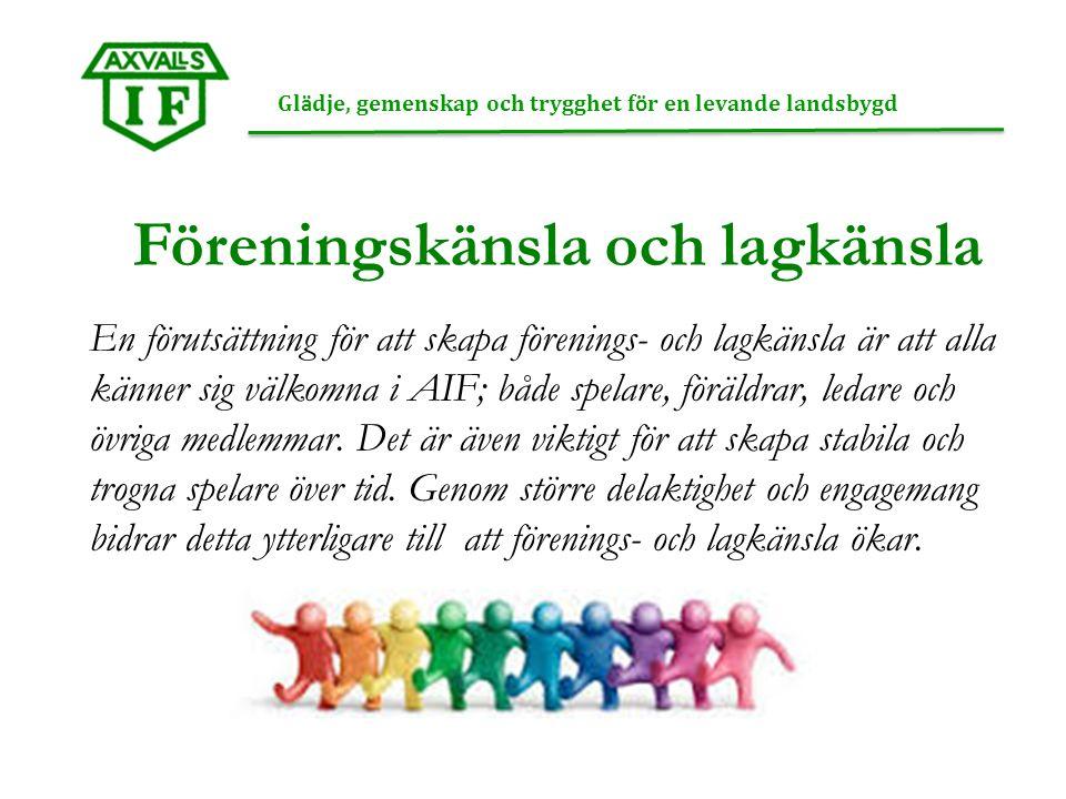 Föreningskänsla och lagkänsla Gl ä dje, gemenskap och trygghet f ö r en levande landsbygd En förutsättning för att skapa förenings- och lagkänsla är att alla känner sig välkomna i AIF; både spelare, föräldrar, ledare och övriga medlemmar.