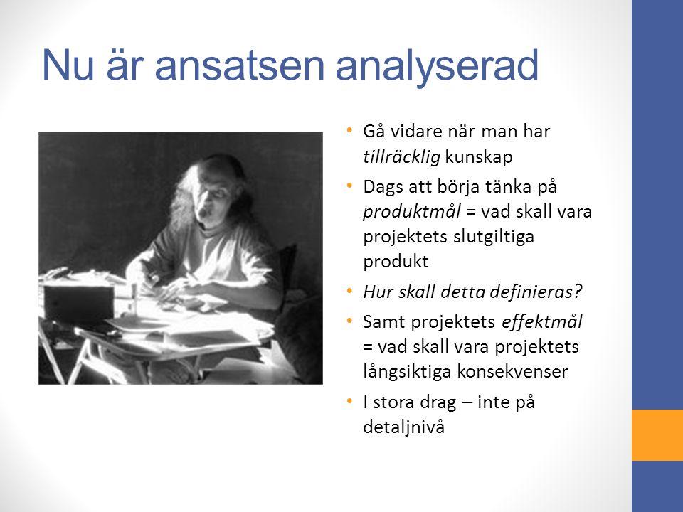 Nu är ansatsen analyserad Gå vidare när man har tillräcklig kunskap Dags att börja tänka på produktmål = vad skall vara projektets slutgiltiga produkt Hur skall detta definieras.