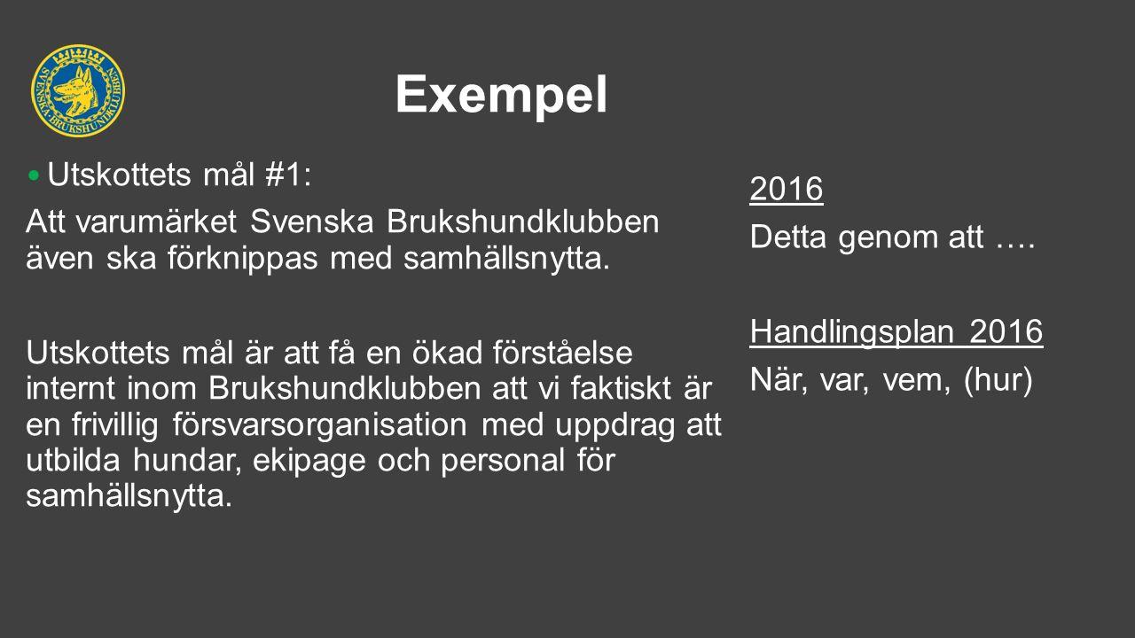 Exempel Utskottets mål #1: Att varumärket Svenska Brukshundklubben även ska förknippas med samhällsnytta.