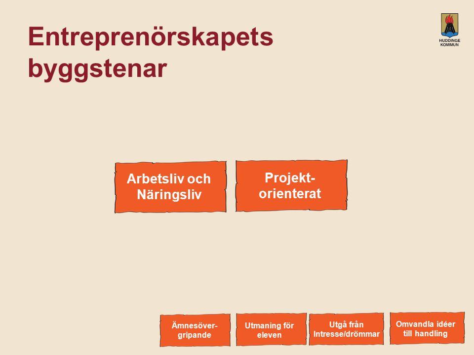 Entreprenörskapets byggstenar Arbetsliv och Näringsliv Omvandla idéer till handling Utgå från Intresse/drömmar Utmaning för eleven Ämnesöver- gripande Projektorienterat