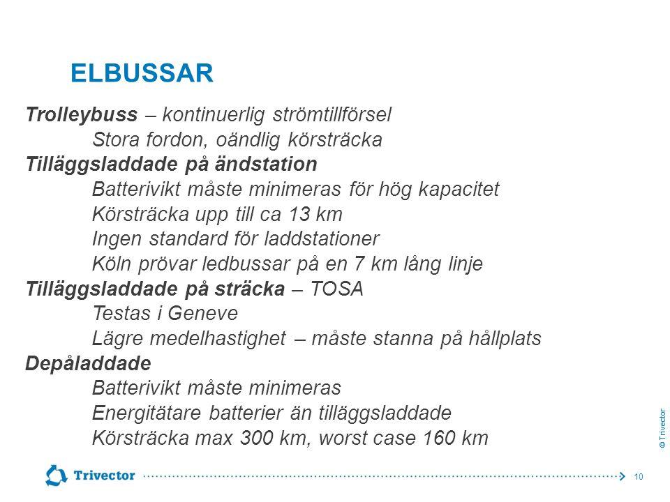 © Trivector ELBUSSAR Trolleybuss – kontinuerlig strömtillförsel Stora fordon, oändlig körsträcka Tilläggsladdade på ändstation Batterivikt måste minim