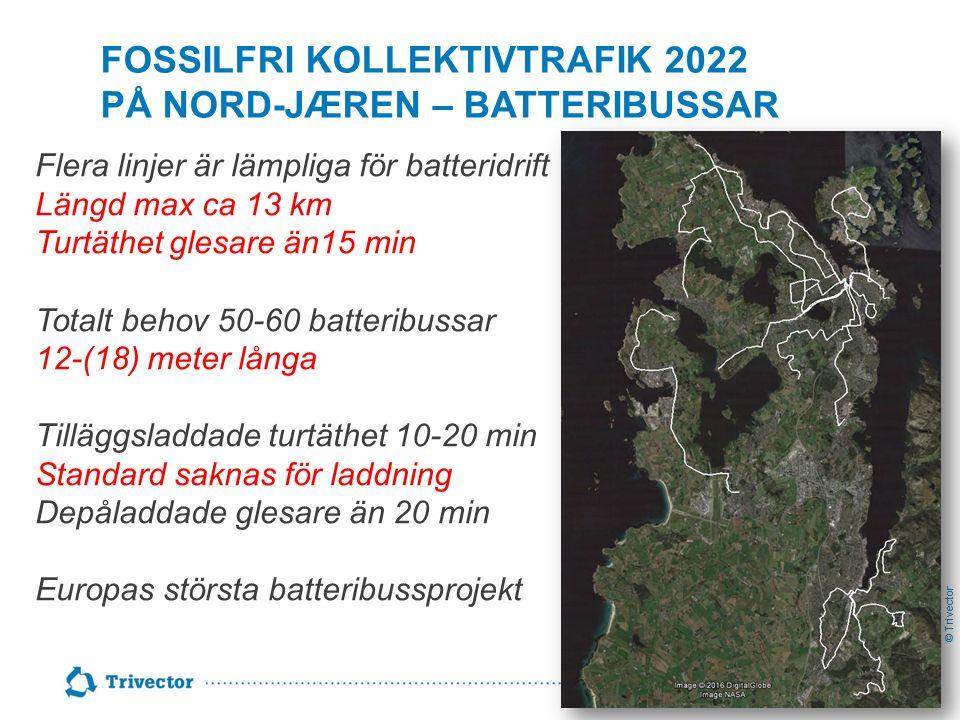 © Trivector FOSSILFRI KOLLEKTIVTRAFIK 2022 PÅ NORD-JÆREN – BATTERIBUSSAR Flera linjer är lämpliga för batteridrift Längd max ca 13 km Turtäthet glesar