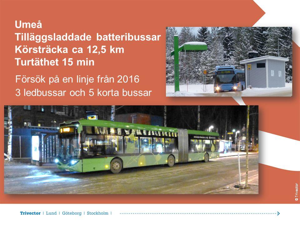 © Trivector Umeå Tilläggsladdade batteribussar Körsträcka ca 12,5 km Turtäthet 15 min Försök på en linje från 2016 3 ledbussar och 5 korta bussar