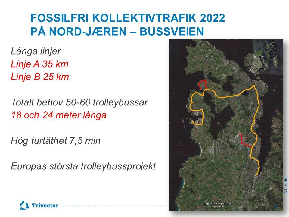 © Trivector FOSSILFRI KOLLEKTIVTRAFIK 2022 PÅ NORD-JÆREN – BUSSVEIEN Långa linjer Linje A 35 km Linje B 25 km Totalt behov 50-60 trolleybussar 18 och