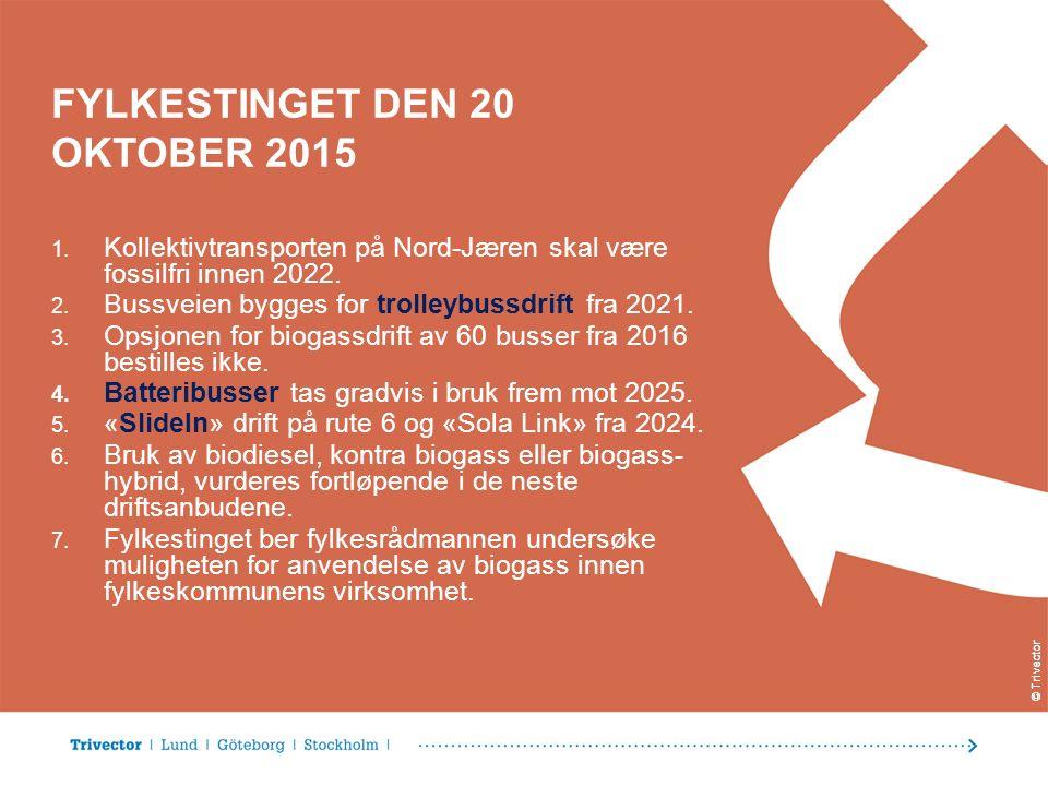 © Trivector FYLKESTINGET DEN 20 OKTOBER 2015 1. Kollektivtransporten på Nord-Jæren skal være fossilfri innen 2022. 2. Bussveien bygges for trolleybuss