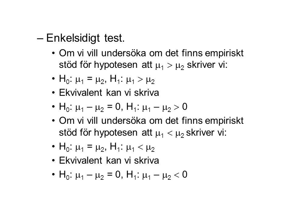–Enkelsidigt test.