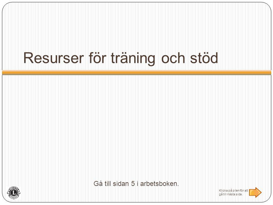 Resurser för träning och stöd Gå till sidan 5 i arbetsboken.