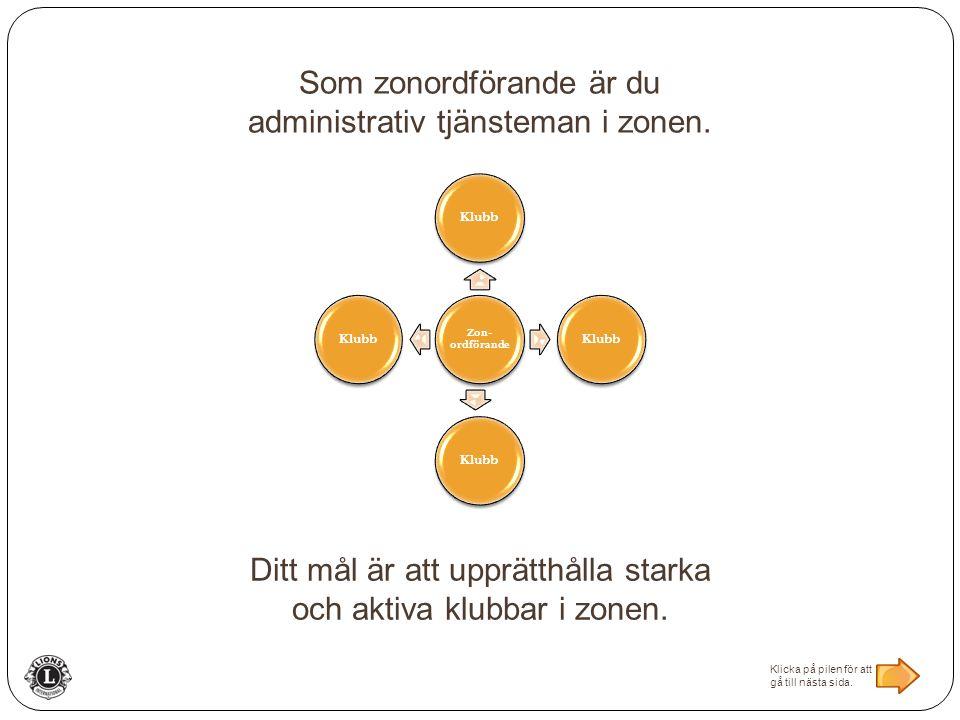 Zon- ordförande Klubb Som zonordförande är du administrativ tjänsteman i zonen.