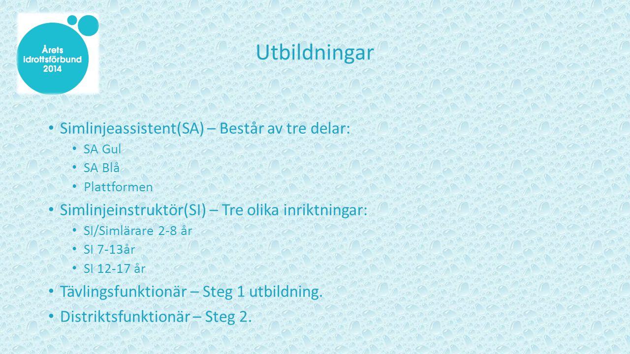 Utbildningar Simlinjeassistent(SA) – Består av tre delar: SA Gul SA Blå Plattformen Simlinjeinstruktör(SI) – Tre olika inriktningar: SI/Simlärare 2-8 år SI 7-13år SI 12-17 år Tävlingsfunktionär – Steg 1 utbildning.