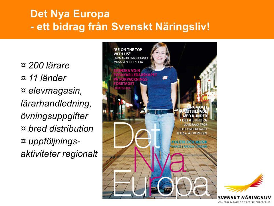 Det Nya Europa - ett bidrag från Svenskt Näringsliv! ¤ 200 lärare ¤ 11 länder ¤ elevmagasin, lärarhandledning, övningsuppgifter ¤ bred distribution ¤