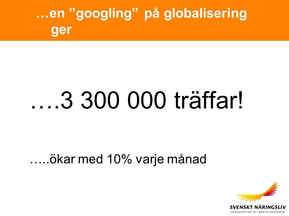 """…en """"googling"""" på globalisering ger ….3 300 000 träffar! …..ökar med 10% varje månad"""
