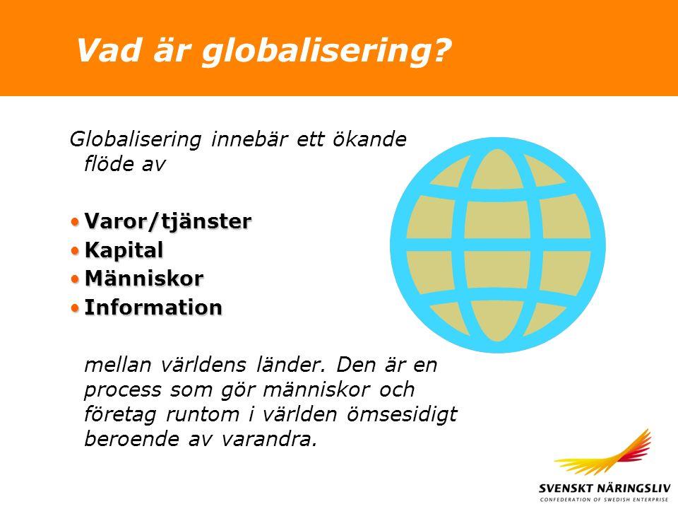 Vad är globalisering? Globalisering innebär ett ökande flöde av Varor/tjänsterVaror/tjänster KapitalKapital MänniskorMänniskor InformationInformation