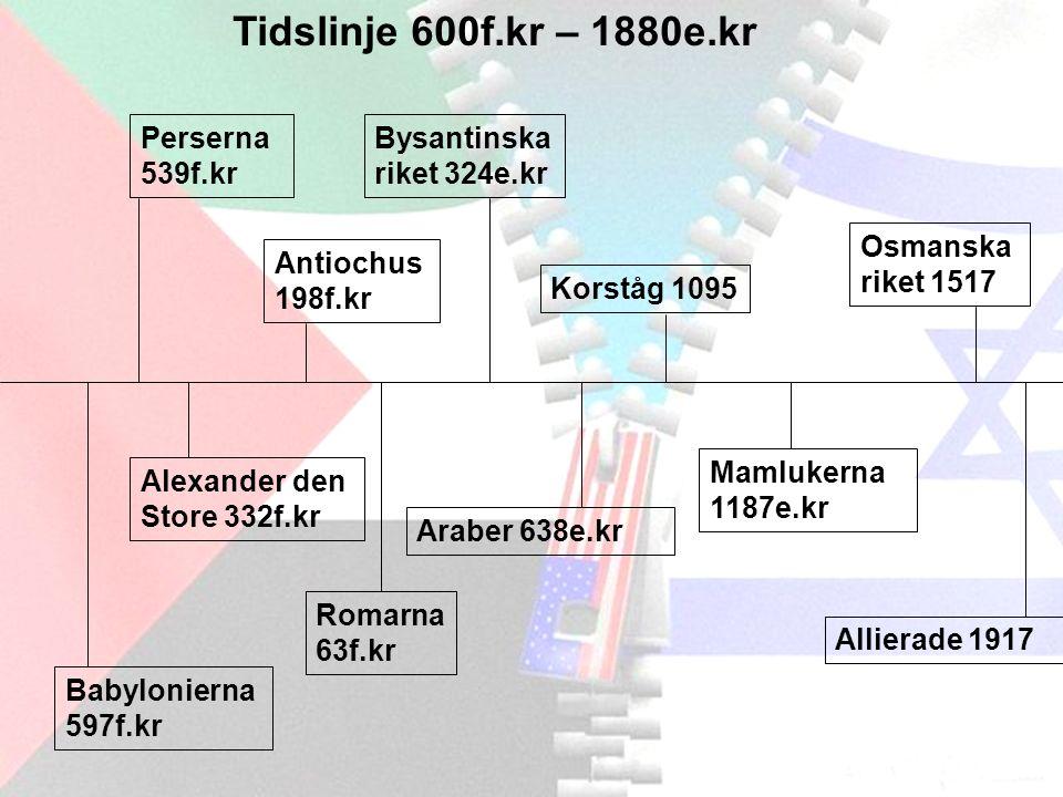Tidslinje 600f.kr – 1880e.kr Perserna 539f.kr Alexander den Store 332f.kr Antiochus 198f.kr Romarna 63f.kr Bysantinska riket 324e.kr Korståg 1095 Osmanska riket 1517 Allierade 1917 Araber 638e.kr Mamlukerna 1187e.kr Babylonierna 597f.kr