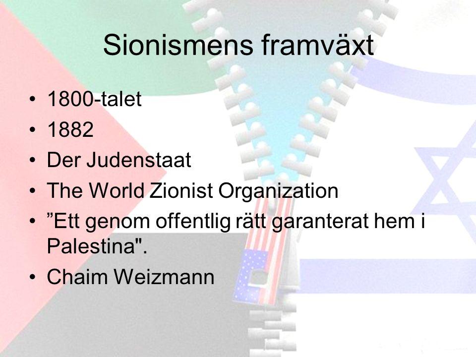 Sionismens framväxt 1800-talet 1882 Der Judenstaat The World Zionist Organization Ett genom offentlig rätt garanterat hem i Palestina .