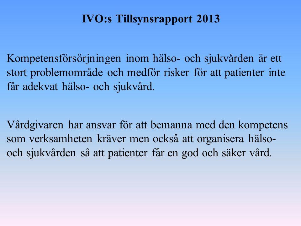IVO:s Tillsynsrapport 2013 Kompetensförsörjningen inom hälso- och sjukvården är ett stort problemområde och medför risker för att patienter inte får a