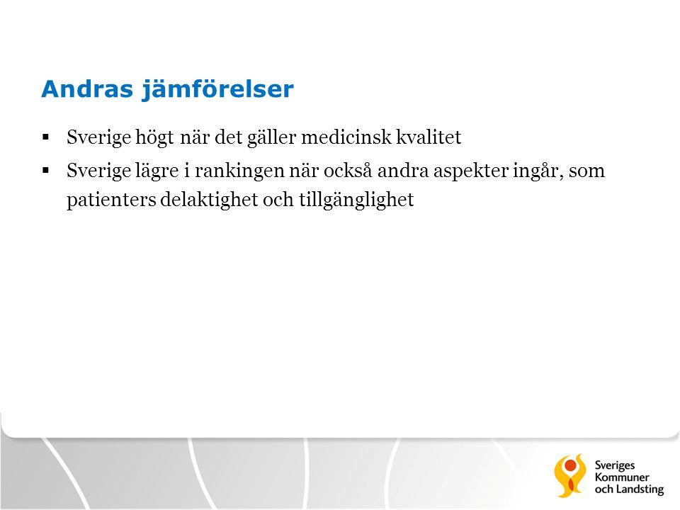 Andras jämförelser  Sverige högt när det gäller medicinsk kvalitet  Sverige lägre i rankingen när också andra aspekter ingår, som patienters delakti