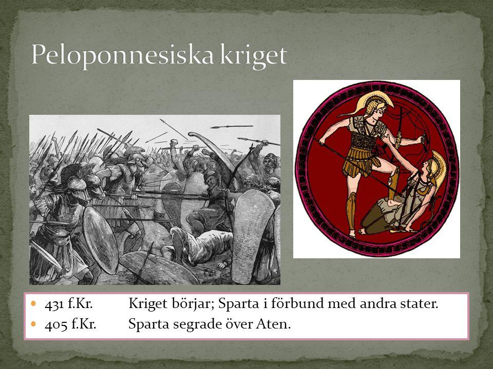 431 f.Kr. Kriget börjar; Sparta i förbund med andra stater. 405 f.Kr.Sparta segrade över Aten.