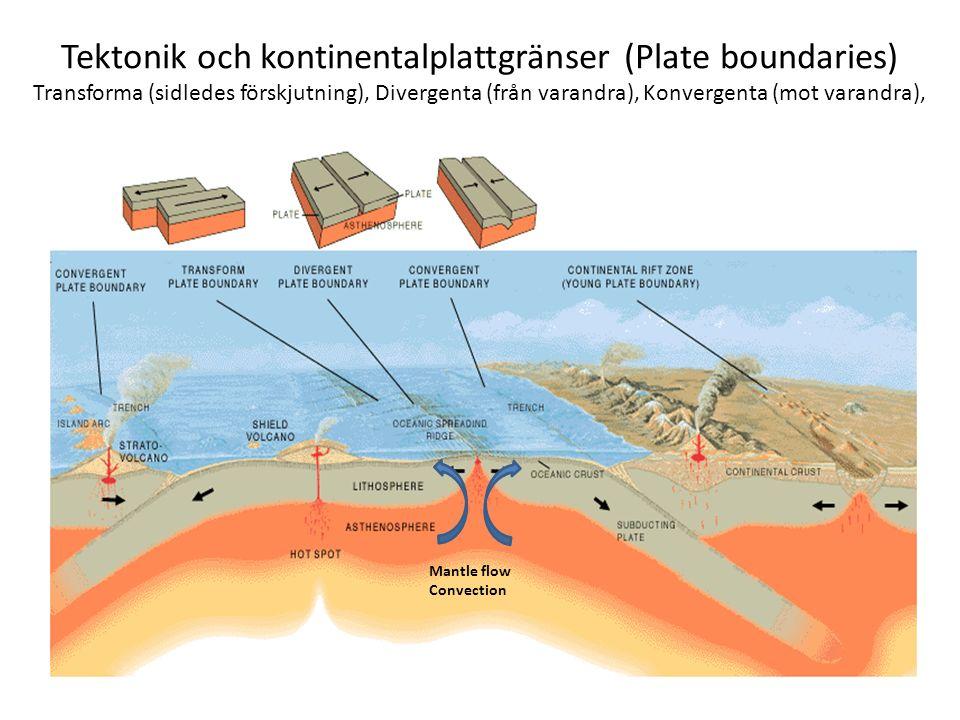 Tektonik och kontinentalplattgränser (Plate boundaries) Transforma (sidledes förskjutning), Divergenta (från varandra), Konvergenta (mot varandra), Ma