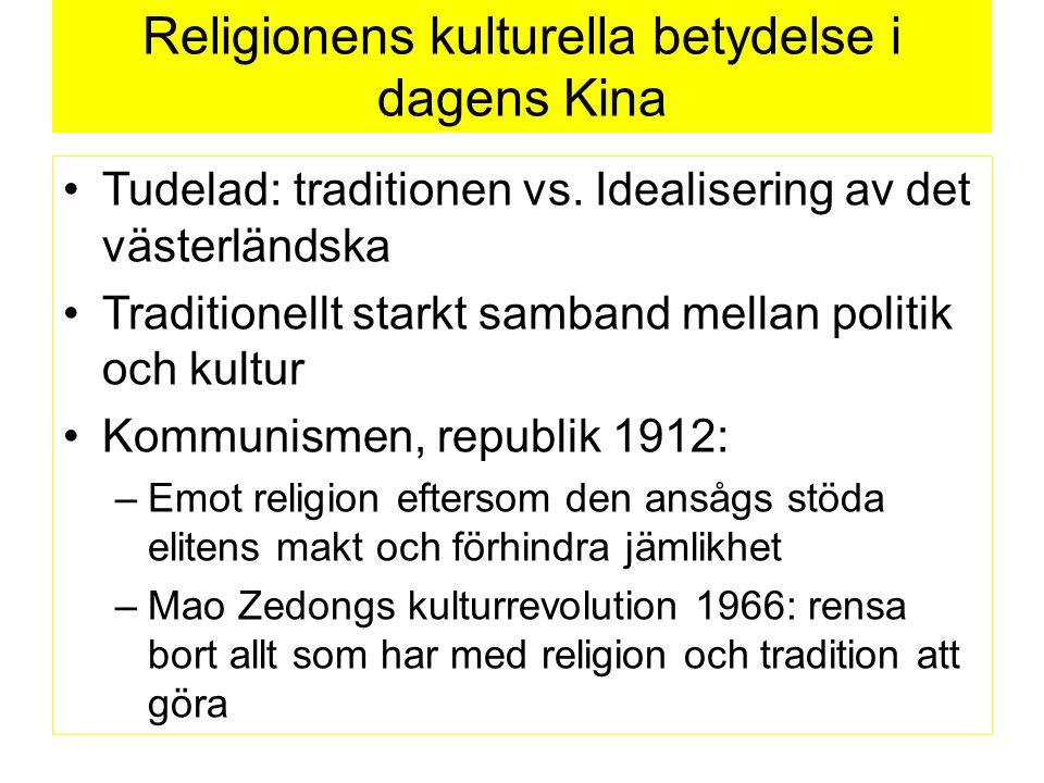 Religionens kulturella betydelse i dagens Kina Tudelad: traditionen vs.