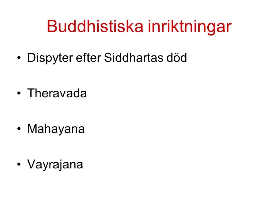 Buddhistiska inriktningar Dispyter efter Siddhartas död Theravada Mahayana Vayrajana