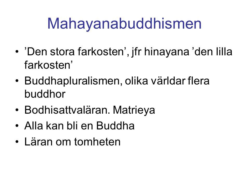Mahayanabuddhismen 'Den stora farkosten', jfr hinayana 'den lilla farkosten' Buddhapluralismen, olika världar flera buddhor Bodhisattvaläran.