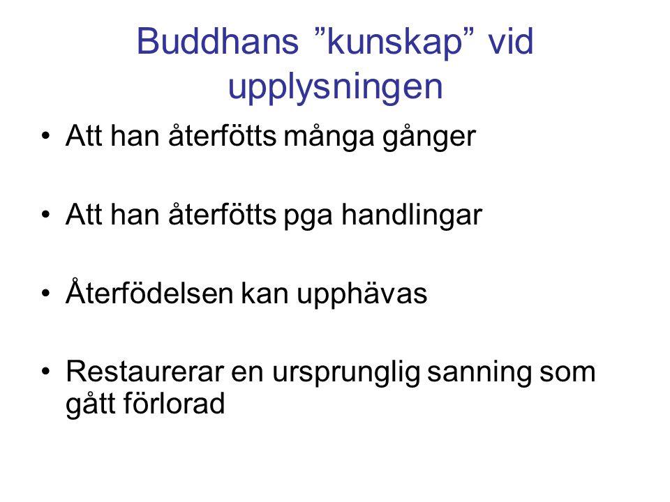 Buddhans kunskap vid upplysningen Att han återfötts många gånger Att han återfötts pga handlingar Återfödelsen kan upphävas Restaurerar en ursprunglig sanning som gått förlorad